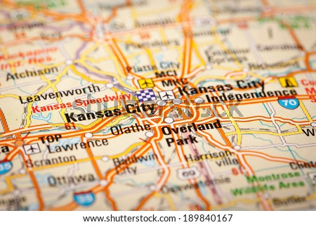 Map Photography Kansas City On Road Stock Photo - Road map of kansas