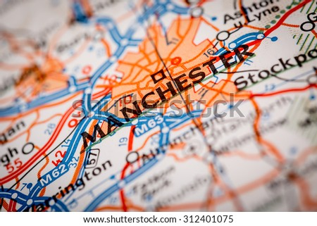 Map Photography: Manchester City on a Road Map - stock photo