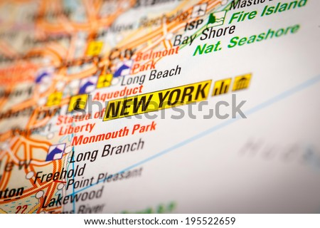 Map Photography: New York City on a Road Map - stock photo