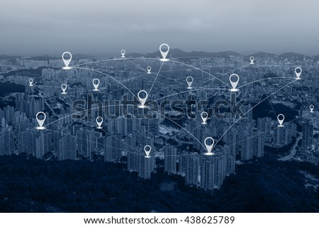 Map pin flat above blue tone over city and network connection concept - stock photo