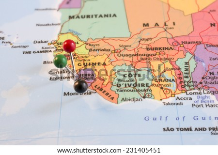 Map Pins in Sierra Leone, Guinea, and Liberia. The heart of the Ebola outbreak. - stock photo