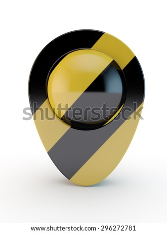 map pointer  in a black and yellow strip,  stindicates dangerous zones - stock photo