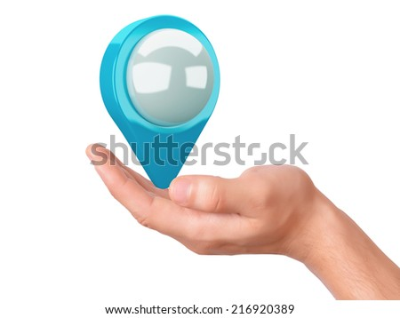 map pointer in the hand on white background - stock photo