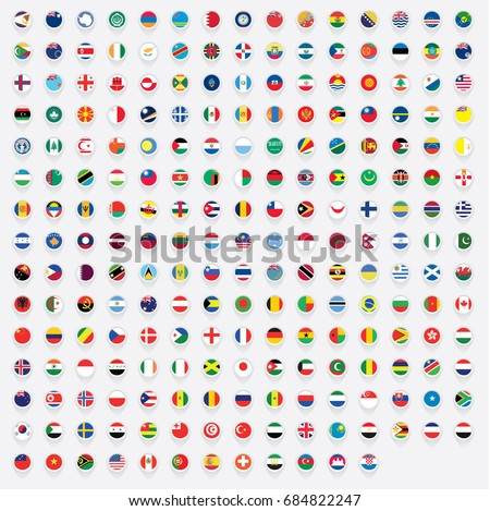 Map Pointer Shaped Illustrated Flags of the World