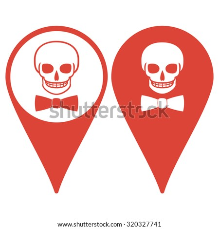 Map pointer. Skull icon isolated, tie. Flat design style  - stock photo