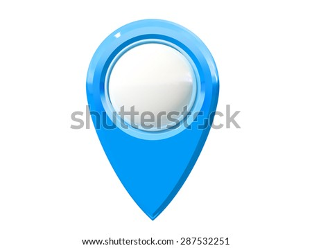 map pointer with blank center isolated on white background, three-dimensional rendering - stock photo