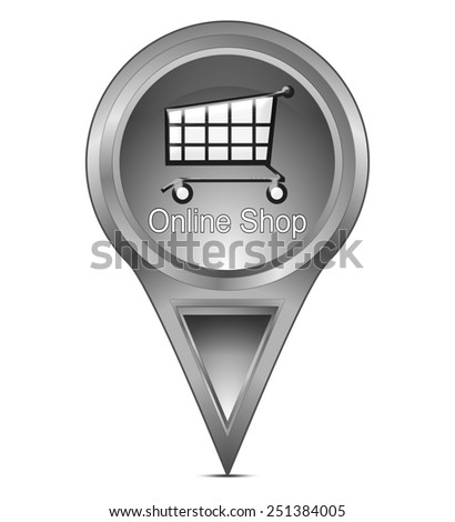 map pointer with online Shop - stock photo