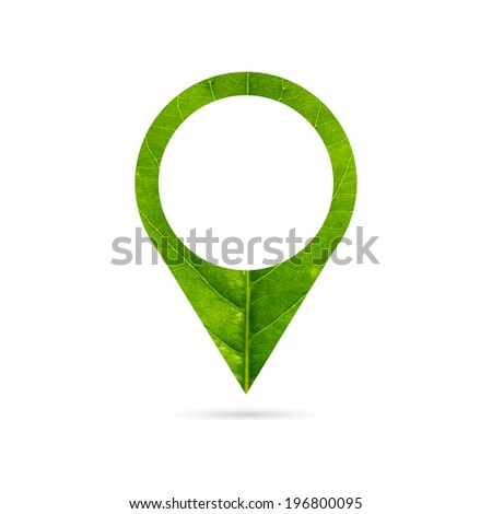 Map pointers icom  made of green leaf - stock photo