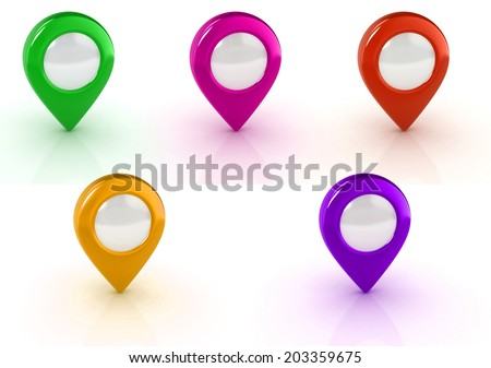 map pointers set  - stock photo
