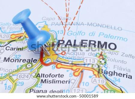 Map push pin suggesting destination Palermo - stock photo