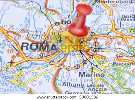 Map push pin suggesting destination Rome - stock photo