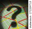 Map questions concept as a city street topograghic diagram with a cast shadow of a question mark as a business or life metaphor for direction uncertainty and transportation guidance help or advice. - stock photo