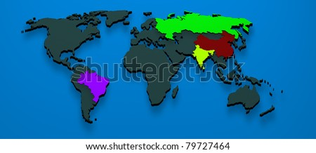 Map rendered formed by the BRIC countries Brazil, Russia, India and China - stock photo