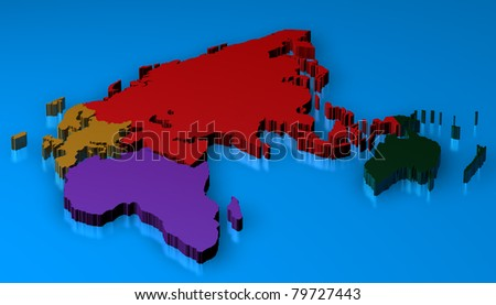Map rendered of europa, africa, asia, oceania and russia over a blue floor with reflection - stock photo