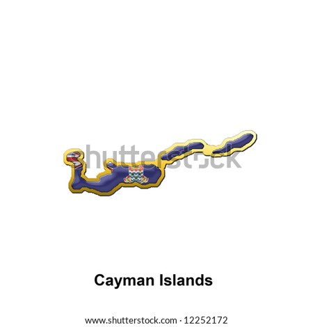 map shaped flag of Cayman Islands in the style of a metal pin badge - stock photo