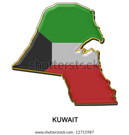 map shaped flag of Kuwait in the style of a metal pin badge - stock photo