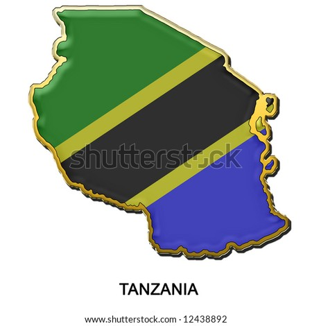 map shaped flag of Tanzania in the style of a metal pin badge