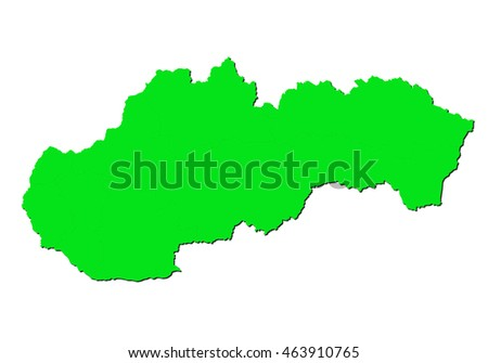 map-slovakia country on white background.