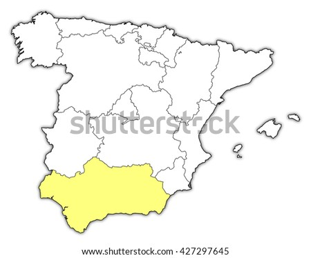 Map Spain Andalusia Stock Vector Shutterstock - Map of andalusia