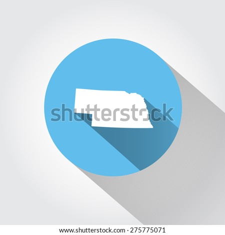 Map state of Nebraska  - stock photo