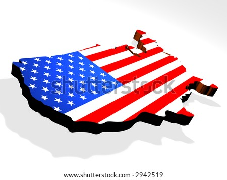 Map the USA 3d - stock photo