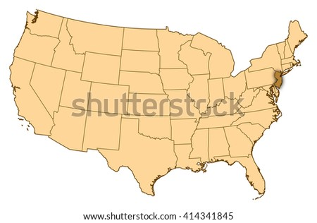 Map New Jersey United States Stock Vector Shutterstock - Us map nj