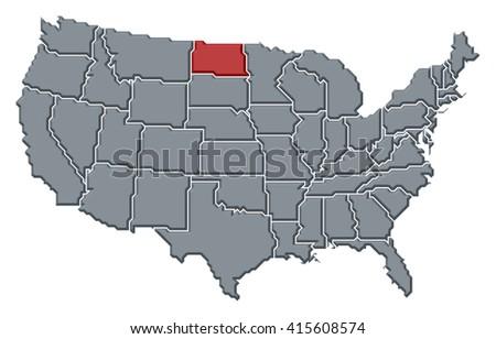 Map United States North Dakota Stock Illustration - North dakota on us map