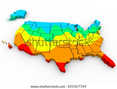 map United States of America with regions color coded average temperatures  - stock photo