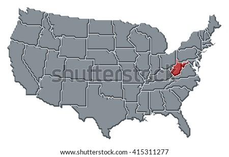 Map United States West Virginia Stock Illustration 415311277