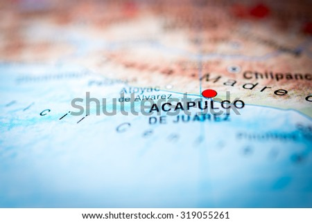 Map view of Acapulco, Mexico. (vignette) - stock photo