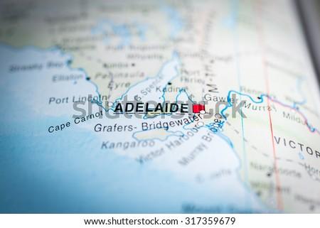 Map view of Adelaide, Australia. (vignette) - stock photo