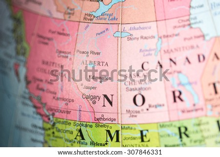 Map view of Alberta, Canada on a geographical map. - stock photo