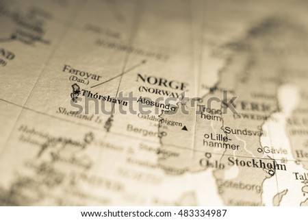 Map View Alesund Norway On Geographical Stock Photo Royalty Free