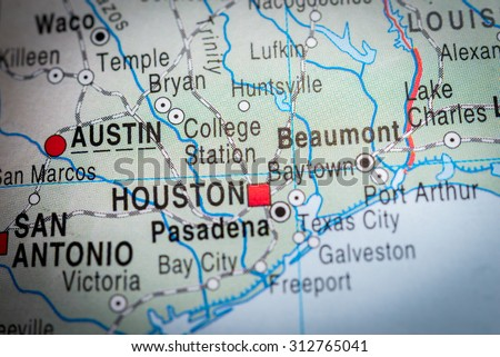 Map view of Austin - stock photo