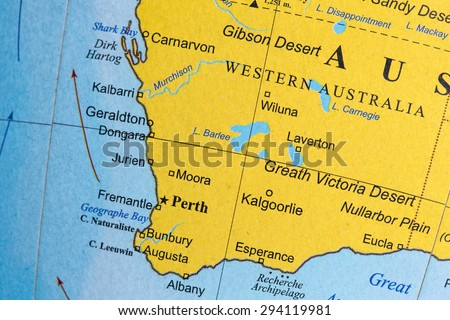 Map view of Australia on a geographical globe. - stock photo
