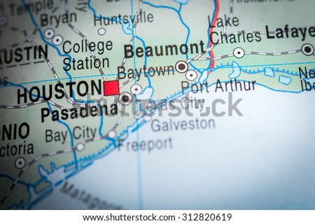 Map view of Beaumont. (vignette) - stock photo