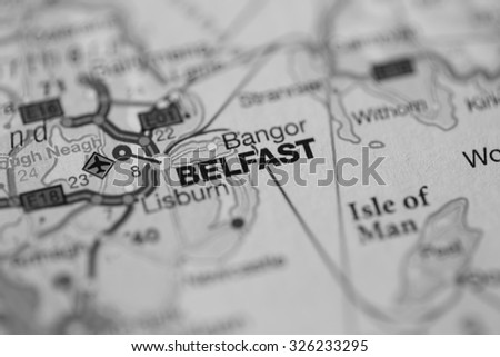 Map view of Belfast, Northern Ireland on a geographical map. (black and white) - stock photo