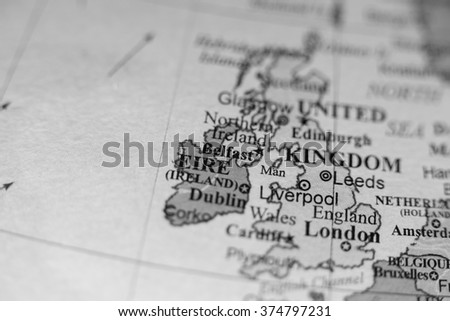 Map view of Belfast, Northern Ireland on a geographical map of E - stock photo