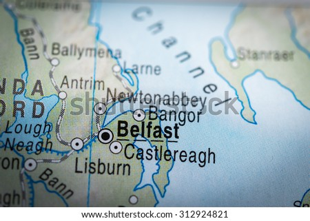 Map view of Belfast. (vignette) - stock photo