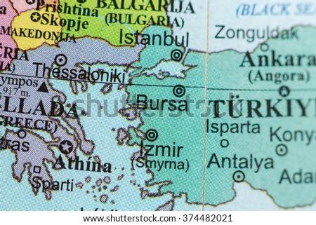 Map View Bursa Turkey On Geographical Stock Photo 374482021