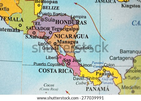 Map view of Central America on a geographical globe. - stock photo