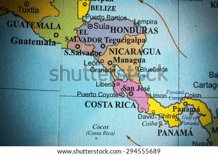 Map view of Central America on a geographical globe. (vignette) - stock photo