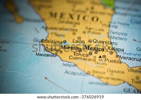 Map view of City of Mexico, Mexico on a geographical map. - stock photo