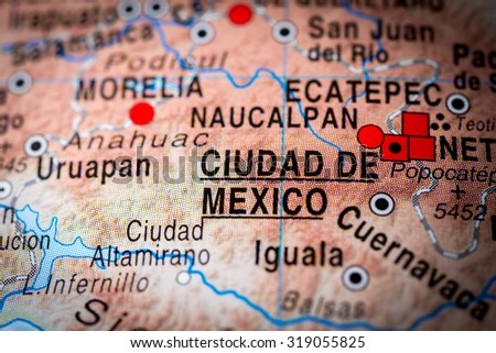 Map view of Ciudad de Mexico, Mexico. (vignette) - stock photo