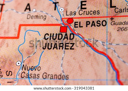 Map view of Ciudad Juarez, Mexico. - stock photo