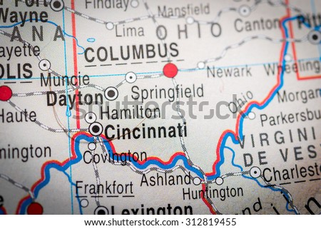Map view of Dayton. (vignette) - stock photo