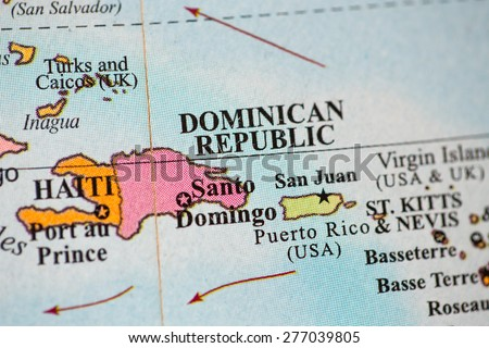 Map view of Dominican Republic on a geographical globe. - stock photo