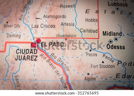 Map view of El Paso - stock photo