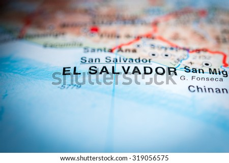 Map view of El Salvador state, Central America. (vignette) - stock photo