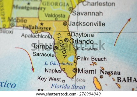Map view of Florida on a geographical globe. - stock photo